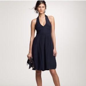 J Crew  Navy Blue Silk Tricotine Allegra Dress
